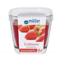 Lumanare pahar Muller, rosu, aroma capsune, H 7 cm