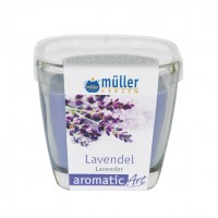Lumanare pahar Muller, lila, aroma lavanda, H 7 cm