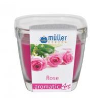 Lumanare pahar Muller, roz, aroma trandafir, H 7 cm