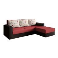 Coltar living extensibil pe stanga Ofelia, cu lada, negru + rosu, 224 x 137 x 72 cm, 2C