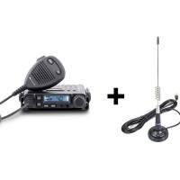 Kit Midland CB-GO, cod 1262.02: statie radio auto CB Midland M-Mini, 4 W, 12 V, scanare canale, ASQ (squelch automat) + antena LC29, baza magnetica 68 mm + cablu 4 m + mufa PL259, distanta de comunicare 7 km