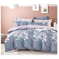 Lenjerie de pat Afo 119, 2 persoane, bumbac satinat 100 %, 4 piese, cu imprimeu floral