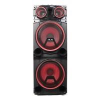 Boxa portabila activa Akai ABTS-1502, 100 W, Bluetooth, USB, SD card, Mic in, Line in, radio FM, negru + rosu, telecomanda, sistem cu show de lumini