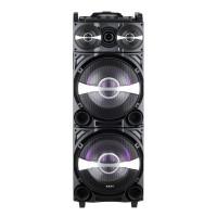 Boxa portabila activa Akai DJ-222, 80 W, Bluetooth, USB, SD card reader, Aux in, radio FM, sistem DJ Effect, afisaj LED, negru, microfon, telecomanda