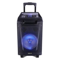Boxa portabila activa Akai ABTS-AW8, 30 W, Bluetooth, USB, TF slot, Aux in, radio FM, sistem lumini disco, functie Record, negru, microfon, telecomanda