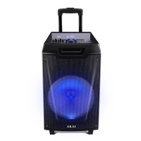 Boxa portabila activa Akai ABTS-AW12, 40 W, Bluetooth, USB, TF slot, Aux in, radio FM, sistem lumini disco, functie Record, negru, microfon, telecomanda