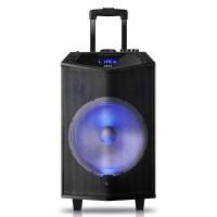 Boxa portabila activa Akai ABTS-DK15, 50 W, Bluetooth, USB, TF slot, Aux in, radio FM, sistem lumini disco, functie Record, negru, microfon, telecomanda