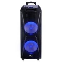 Boxa portabila activa Akai ABTS-AW122, 60 W, Bluetooth, USB, TF slot, Aux in, radio FM, sistem lumini disco, functie Record, negru, microfon, telecomanda