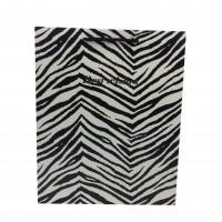 Punga cadou KDBM M, din carton, alb + negru, 26 x 32 x 10 cm