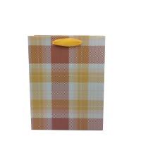 Punga cadou KDYL02 S, din carton, galben + maro, 18 x 23 x 10 cm