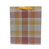 Punga cadou KDYL02 M, din carton, galben + maro, 26 x 32 x 10 cm