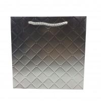 Punga cadou KDLMS S, din carton, argintie, 20 x 20 x 8 cm