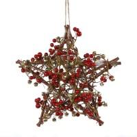Decoratiune Craciun, tip stea, maro + rosu + auriu, D 25 cm, AK381903R