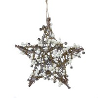 Decoratiune Craciun, tip stea, alb + argintiu, D 25 cm, AK381903W