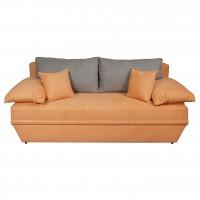 Canapea extensibila 3 locuri Alice, cu lada, portocaliu + gri deschis, 190 x 95 x 80 cm, 2C
