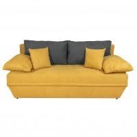 Canapea extensibila 3 locuri Alice, cu lada, galben + gri inchis, 190 x 95 x 80 cm, 2C