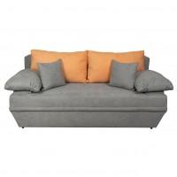 Canapea extensibila 3 locuri Alice, cu lada, gri deschis + portocaliu, 190 x 95 x 80 cm, 2C