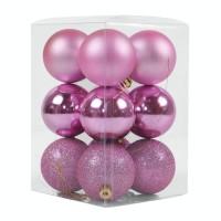 Globuri Craciun, aurii / rosii / roz, diametru 6 cm, set 12 bucati, N3/6012AB