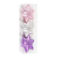 Stelute Craciun, roz + mov + argintiu, 7 cm, set 3 bucati, N3/70L12503BS