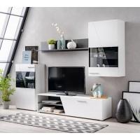 Biblioteca living Lens, alb mat + lemn negru + folie lucioasa alba, 245 cm, 3C