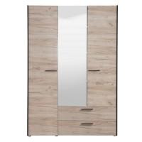 Dulap dormitor Denis 3K2FO, stejar gri, 3 usi, cu oglinda, 140.5 x 54 x 205.5 cm, 4C