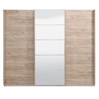 Dulap dormitor Poluks, stejar gri, 3 usi glisante, cu oglinda, 262.5 x 68 x 222 cm, 8C