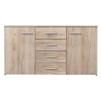 Comoda dormitor Adda 3K4F, cu 4 sertare, stejar gri, 150 x 81 x 40 cm, 2C