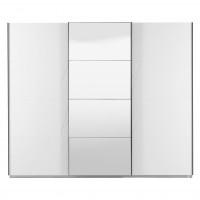 Dulap dormitor Ksanti 270, alb mat + folie lucioasa alba, 3 usi glisante, cu oglinda, 262.5 x 64.5 x 222 cm, 9C