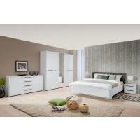 Dormitor complet Ksanti, alb + alb lucios + gri, 5 piese, 12C