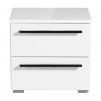 Noptiera Ksanti NO2F, cu 2 sertare, alb + alb lucios, 44.5 x 42.5 x 33.5 cm, 1C