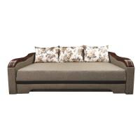 Canapea extensibila 3 locuri Bianca, cu lada + ornament, crem + maro, 220 x 106 x 80 cm, 4C