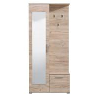 Cuier hol Sebino cu 3 agatatori, oglinda si dulap, stejar gri, 2 usi, 905 x 350 x 1990 mm, 2C