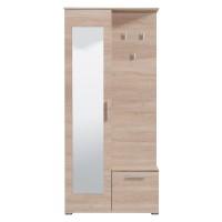 Cuier hol Sebino cu 3 agatatori, oglinda si dulap, stejar sonoma, 2 usi, 905 x 350 x 1990 mm, 2C