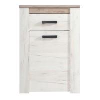Comoda hol Kent 1K1F, cu usa + sertar, stejar alb + stejar gri, 68.5 x 36.5 x 98 cm, 2C