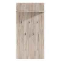 Cuier hol pentru perete Como CIV cu 5 agatatori si polita, stejar gri, 670 x 195 x 1370 mm, 1C
