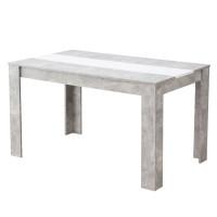 Masa bucatarie fixa Domus, dreptunghiulara, 4 persoane, beton + alb, 135 x 80.5 x 74.5 cm, 1C