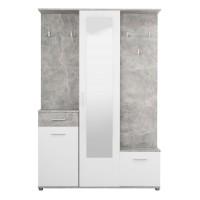 Cuier hol Martin cu 10 agatatori, oglinda, dulap si comoda, beton + alb, 3 usi, 1335 x 330 x 1975 mm, 2C