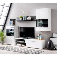 Biblioteca living Lens, cu lumini, alb + negru + alb lucios, 245 cm, 4C
