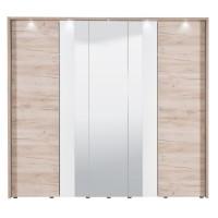 Dulap dormitor Dante 5K3O, cu rama si LED, stejar gri + alb, 5 usi, cu oglinda, 223.5 x 55.5 x 206 cm, 7C