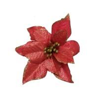 Decoratiune Craciun, tip floare, rosie, D 13 cm, SYH19-001