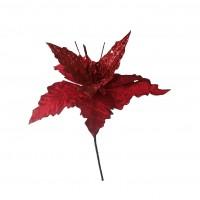 Decoratiune Craciun, tip floare, rosie, 24 cm, SYH19-010