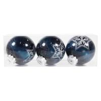 Globuri Craciun, albastru inchis, D 8 cm, set 3 bucati, SYQD-011906
