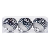 Globuri Craciun, albastru inchis, D 8 cm, set 3 bucati, SYQD-011910