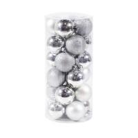 Globuri Craciun, argintii/rosii/albastre, D 6 cm, set 24 bucati, SYQD-0119150