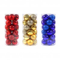 Globuri Craciun, aurii/rosii/albastre, D 7 cm, set 24 bucati, SYQD-0119151