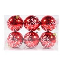 Globuri Craciun, rosii, D 8 cm, set 6 bucati, SYQC-011993