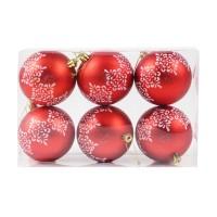 Globuri Craciun, rosii, D 8 cm, set 6 bucati, SYQC-011994