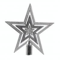 Varf brad Craciun, argintiu, 15 cm, SYQC-0119140