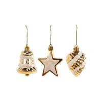 Set decoratiuni Craciun, auriu, 3 bucati, SYQC-0119166