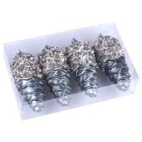 Globuri Craciun, turcoaz, H 11 cm, set 4 bucati, SYQC-0119214
